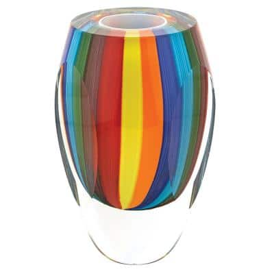 6 in. Rainbow Murano Style Art Glass Vase