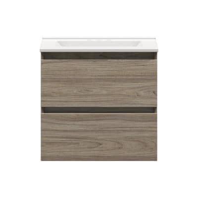 Sidemere 24 in. W x 18 in. D Vanity in Savanna with Porcelain Vanity Top in Solid White with White Basin