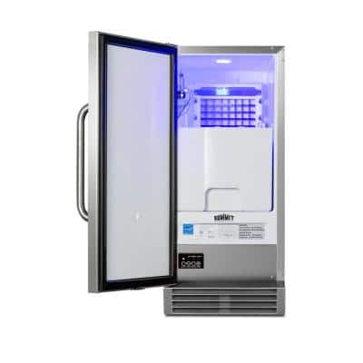 15 in. 50 lbs. Built-In Outdoor Ice Maker in Stainless Steel