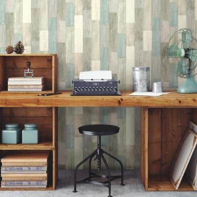 Coastal Weathered Plank Blue And Tan Vinyl Peel & Stick Wallpaper Roll (Covers 28.18 Sq. Ft.)