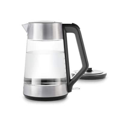7.4-Cup Black Stainless Steel Cordless Electric Kettle with Automatic Shut-off