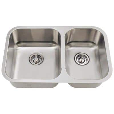 Undermount Stainless Steel 28 in. Double Bowl Kitchen Sink