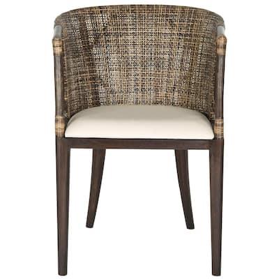 Beningo Brown/Black Cotton Arm Chair