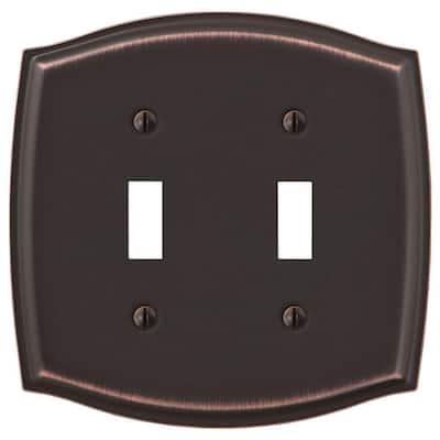 Vineyard 2 Gang Toggle Steel Wall Plate - Aged Bronze