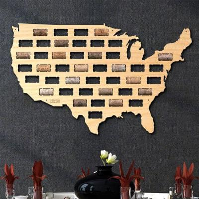 """USA Wine Cork Map"" Wall Decor"