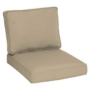 Oasis 26 in. x 30 in. Plush 2-Piece Deep Seating Outdoor Lounge Chair Cushion in Desert Tan
