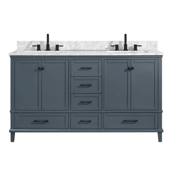 Home Decorators Collection Merryfield 61 In W X 22 In D Bath Vanity In Dark Blue Gray With Marble Vanity Top In Carrara White With White Basin 19112 Vs61 Dg The Home Depot
