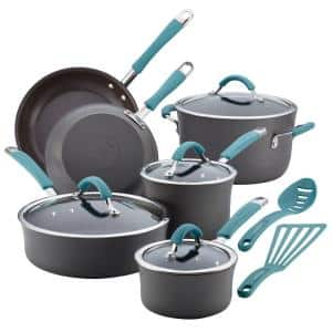 Cucina 12-Piece Hard-Anodized Aluminum Nonstick Cookware Set in Agave Blue and Gray