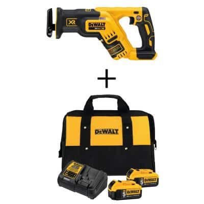 20-Volt MAX XR Cordless Brushless Compact Reciprocating Saw with (2) 20-Volt Batteries 5.0Ah & Charger