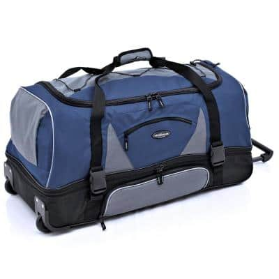 30 in. Blue/Gray 2-Section Drop-Bottom Rolling Duffel with Telescopic Handle and Blade Wheels