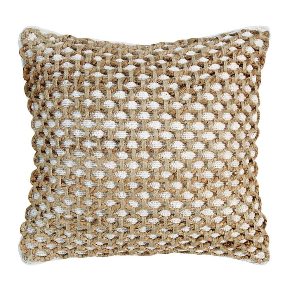 Boho Living Jada Geometric White 20 In X 20 In Braided Jute Decorative Throw Pillow Ymo006946 The Home Depot