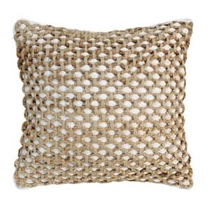 Jada Geometric White 20 in. x 20 in. Braided Jute Decorative Throw Pillow