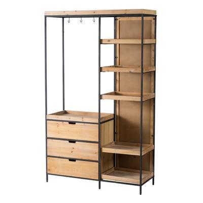 76.8 in. Black Natural Metal 6-Shelf Modern Accent Bookcase