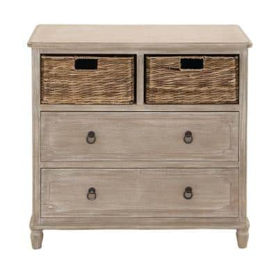 32 in. x 32 in. Classic Light Brown Pine Wood and MDF Basket Accent Cabinet in Distressed White