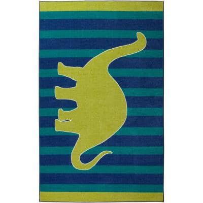 Friendly Dinosaur Blue 4 ft. x 5 ft. Whimsical Area Rug