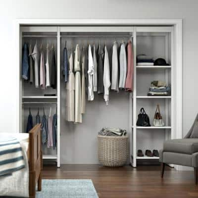 91 in. W White Adjustable Tower Wood Closet System with 9 Shelves