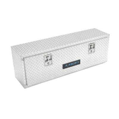 72 in Diamond Plate Aluminum Full Size Top Mount Truck Tool Box with mounting hardware and keys included, Silver