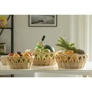 Decorative Willow Round Fruit Bowl Bread Basket Serving Tray, Set of 3