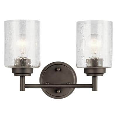 Winslow 2-Light Olde Bronze Vanity Light with Clear Seeded Glass