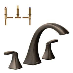 Voss 2-Handle Deck-Mount High Arc Roman Tub Faucet in Oil Rubbed Bronze (Valve Included)