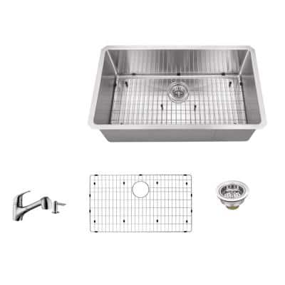 Undermount 32 in. 16-Gauge Stainless Steel Single Bowl Kitchen Sink in Brushed Stainless with Pull Out Kitchen Faucet