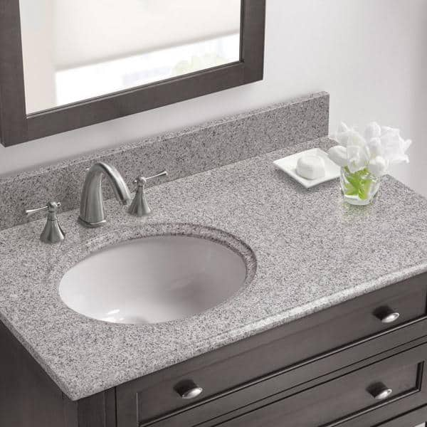 Cahaba 37 In W X 22 In D Granite Vanity Top In Napoli With White Offset Left Bowl Cavt0147 The Home Depot