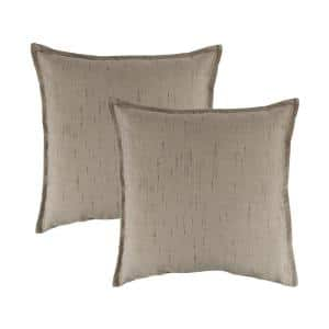 Sunbrella Frequency Sand Solid 20 in. x 20 in. Throw Pillow (Set of 2)