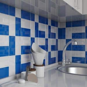 Blue 3 in. x 6 in. x 8mm Glass Subway Wall Tile (5 sq. ft./case)