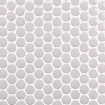Bliss Gray Circles 12.87 in. x 12.25 in. x 6 mm Polished Ceramic Mosaic Tile