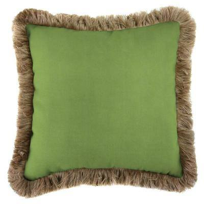 Sunbrella Canvas Gingko Square Outdoor Throw Pillow with Heather Beige Fringe