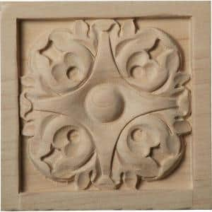 3/4 in. x 3-1/2 in. x 3-1/2 in. Unfinished Wood Maple Medium Leaf Rosette
