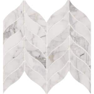 Calacatta Cressa Leaf 12 in. x 12 in. x 10 mm Honed Marble Mosaic Tile (10 sq. ft. / case)