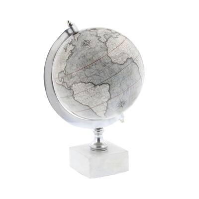 11 in. White Plastic Contemporary Decorative Globe