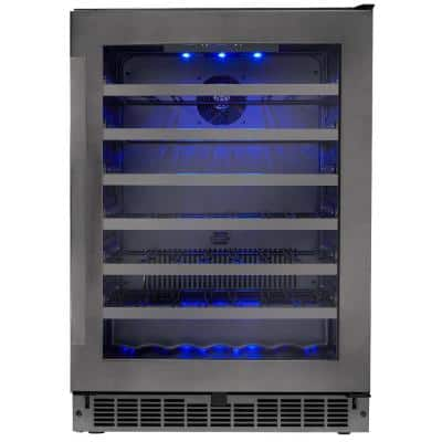48-Bottle Built-in Wine Cooler in Black Stainless