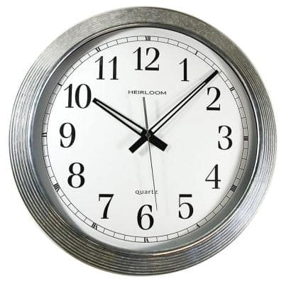 16 in. Round Galvanized Metal Rim Wall Clock
