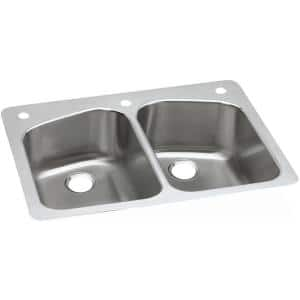 Dual Mount Stainless Steel 33 in. 2-Hole Equal Double Bowl Kitchen Sink