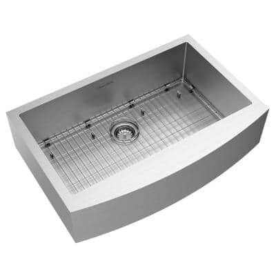 Pekoe Farmhouse/Apron-Front Stainless Steel 33 in. Single Bowl Kitchen Sink