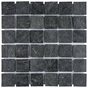 Crag Quad Black Quartzite 12 in. x 12 in. x 13 mm Natural Stone Mosaic Tile (1 sq. ft./Each)