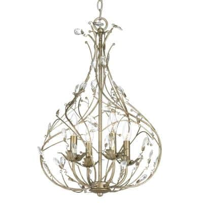 Sorpresa Collection 4-Light Gilded Pewter Pendant with Crystal Glass Accents