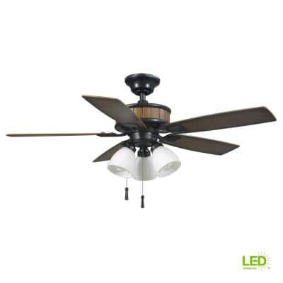 Riverwalk 42 in. Natural Iron LED Smart Ceiling Fan with Light Kit and Remote Works with Google Assistant and Alexa