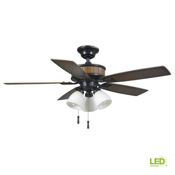 Hampton Bay Riverwalk 42 In Indoor Outdoor Led Natural Iron Wet Rated Ceiling Fan With Light Kit And 5 Abs Weatherproof Blades 43242 The Home Depot