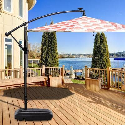132 lbs. Plastic Patio Umbrella Base in Black Weighted Fill Water Sand Wheel
