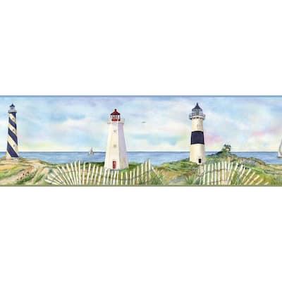 Eugene Light Blue Coastal Lighthouse Portrait Blue Wallpaper Border