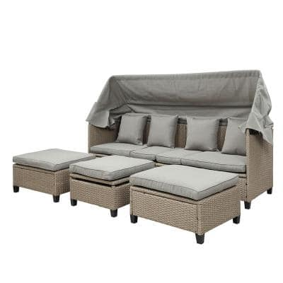LAILI 4-Piece UV-Proof Resin Wicker Patio Sofa Set with Retractable Canopy and Gray Cushions