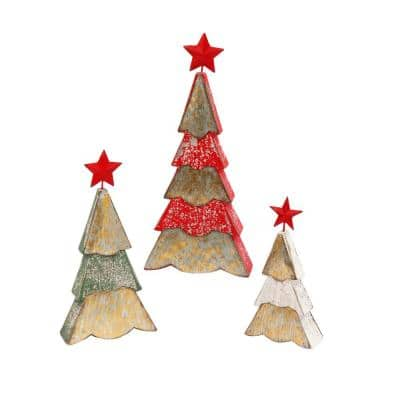 S/3 17.25 in. H Wood and Metal Holiday Trees
