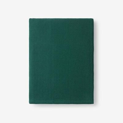 Cotton Weave Dark Green Solid Woven Throw Blanket