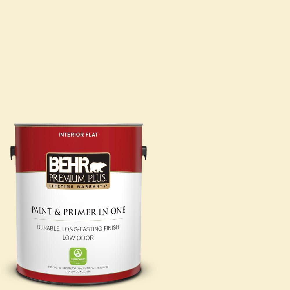 Behr Premium Plus 1 Gal Yl W03 Honied White Flat Low Odor Interior Paint And Primer In One 105001 The Home Depot