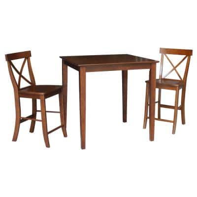 3-Piece Set Espresso 36 in Square Counter Height Dining Table with 2-Armless Stools