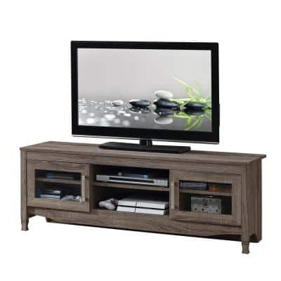 Techni Mobili 53 in. Gray Wood TV Stand Fits TVs Up to 65 in. with Storage Doors