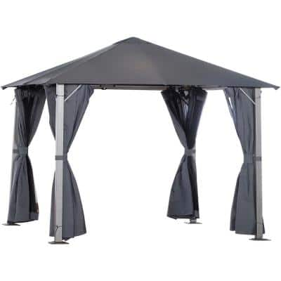 10 ft. x 10 ft. Soft Top Outdoor Pergola Canopy Gazebo with Beautiful Wood-Grain Finish and Zippered Sling Sidewalls